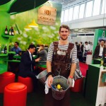 Attracting guests to the Origin Wines stand at the London Wine Trade Show.