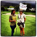 Beer Queen and Biltong Queen on the 18th hole for Glacier at the Cadiz Classic, Steenberg.